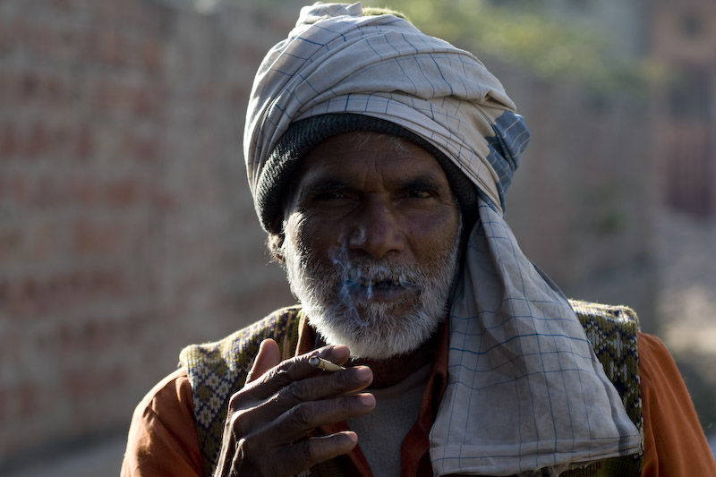 Amber Town, Jaipur. Portrait of a fish seller. Retrato de un vendedor de pescado.