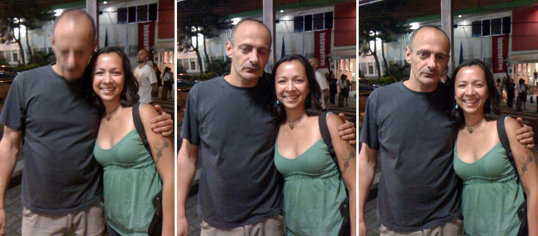 """This is the most decent photo I have taken with a girl in a log time,"" Antoine D'Agata at the inauguration of FotoVeritas, San José, September 9, 2009. Next to him, me. Photos taken by Lissette Acosta."